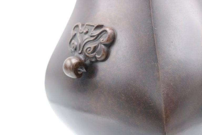 19th Century Meiji Period Patinated Japanese Bronze Vase For Sale