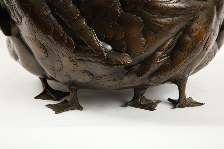 Meiji Period Rare Japanese Bronze Centerpiece of a Flock of Geese, Signed For Sale 10
