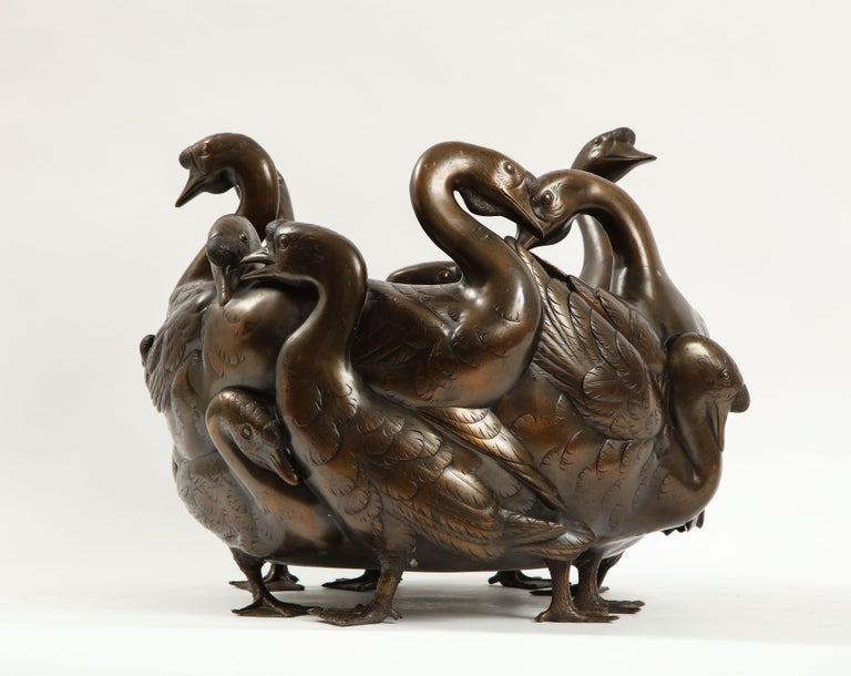 Cloissoné Meiji Period Rare Japanese Bronze Centerpiece of a Flock of Geese, Signed For Sale