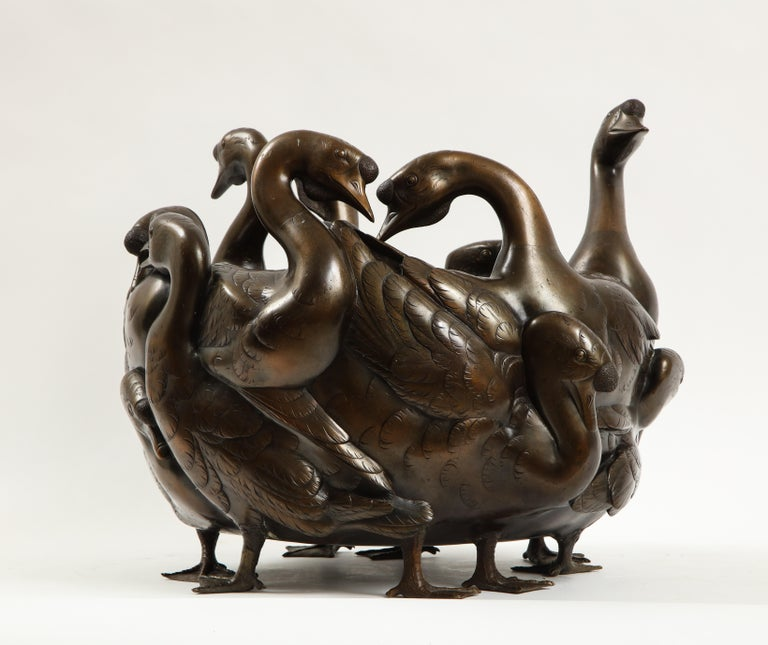 Meiji Period Rare Japanese Bronze Centerpiece of a Flock of Geese, Signed In Good Condition For Sale In New York, NY