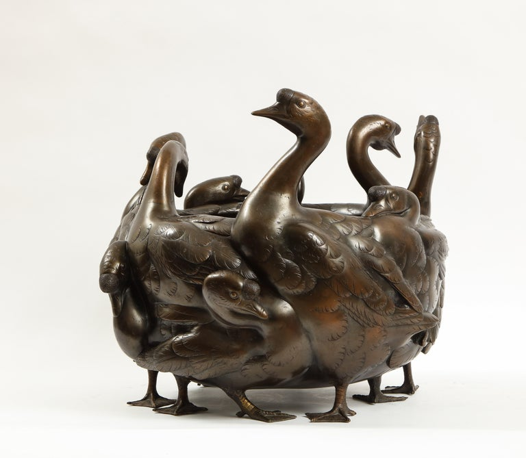 Meiji Period Rare Japanese Bronze Centerpiece of a Flock of Geese, Signed For Sale 1