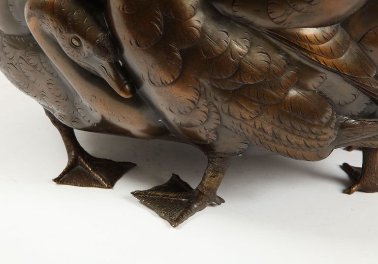Meiji Period Rare Japanese Bronze Centerpiece of a Flock of Geese, Signed For Sale 4