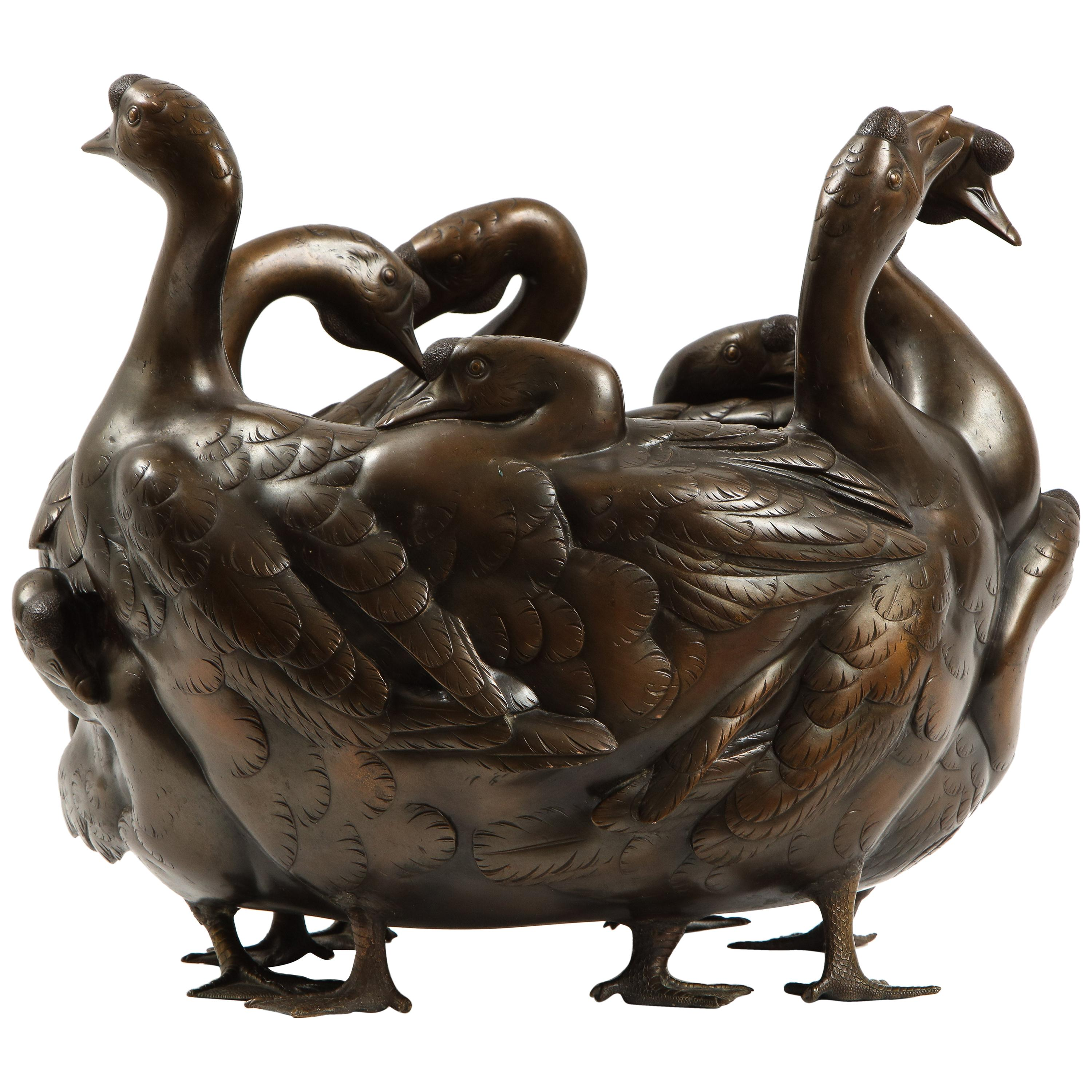 Meiji Period Rare Japanese Bronze Centerpiece of a Flock of Geese, Signed