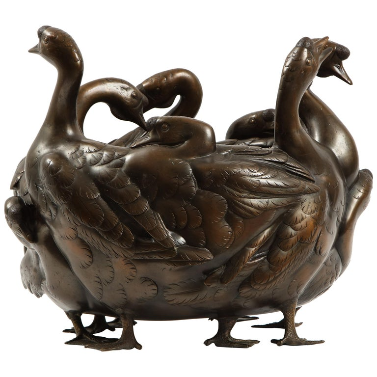 Meiji Period Rare Japanese Bronze Centerpiece of a Flock of Geese, Signed For Sale