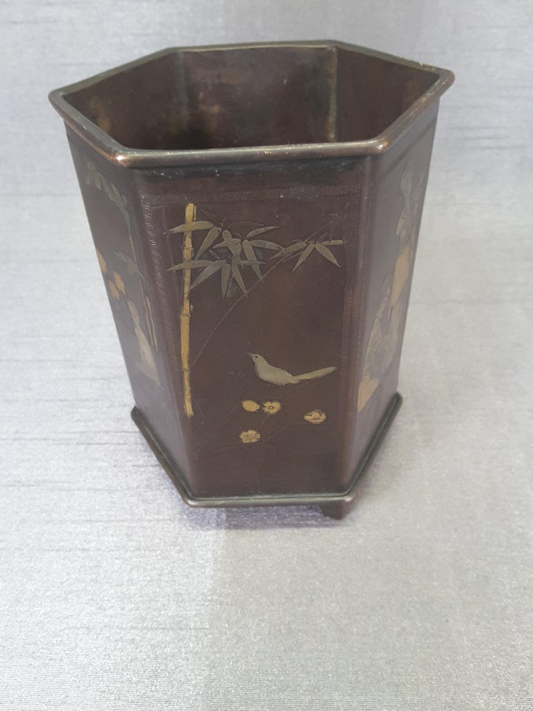 Meiji Period Signed Bronze and Mixed Metal Bonsai Planter or Brush Pot For Sale 4