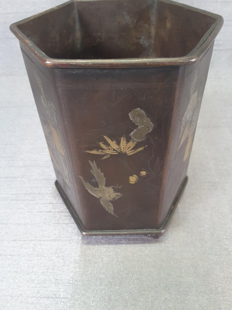 Meiji Period Signed Bronze and Mixed Metal Bonsai Planter or Brush Pot For Sale 6