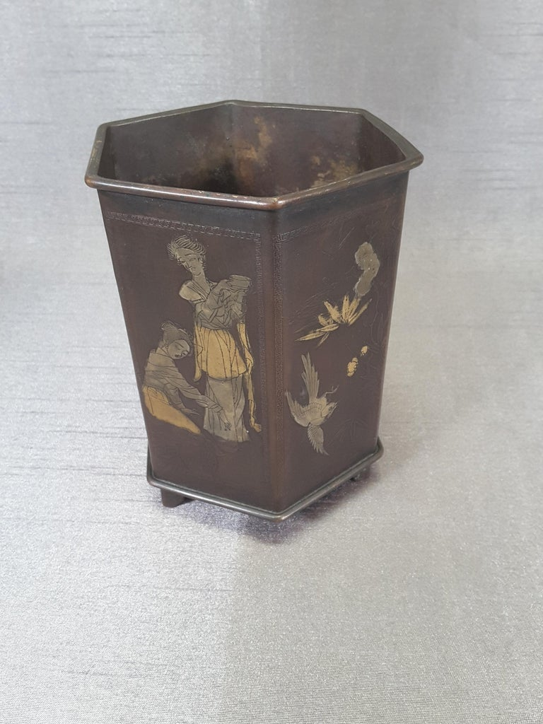 Engraved Meiji Period Signed Bronze and Mixed Metal Bonsai Planter or Brush Pot For Sale