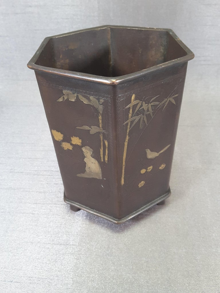 Meiji Period Signed Bronze and Mixed Metal Bonsai Planter or Brush Pot In Good Condition For Sale In Ottawa, Ontario