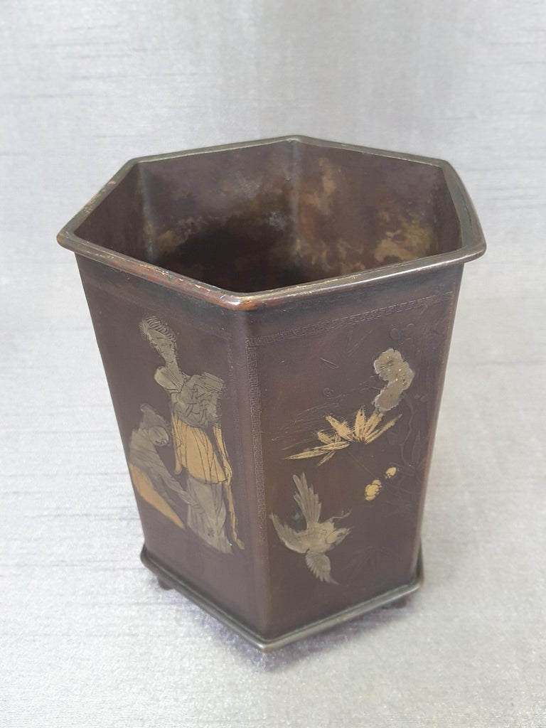 Meiji Period Signed Bronze and Mixed Metal Bonsai Planter or Brush Pot For Sale 2
