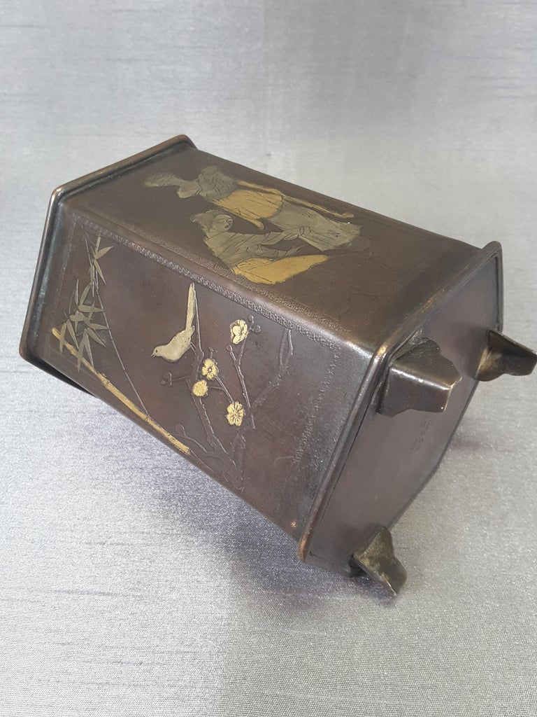 Meiji Period Signed Bronze and Mixed Metal Bonsai Planter or Brush Pot For Sale 3