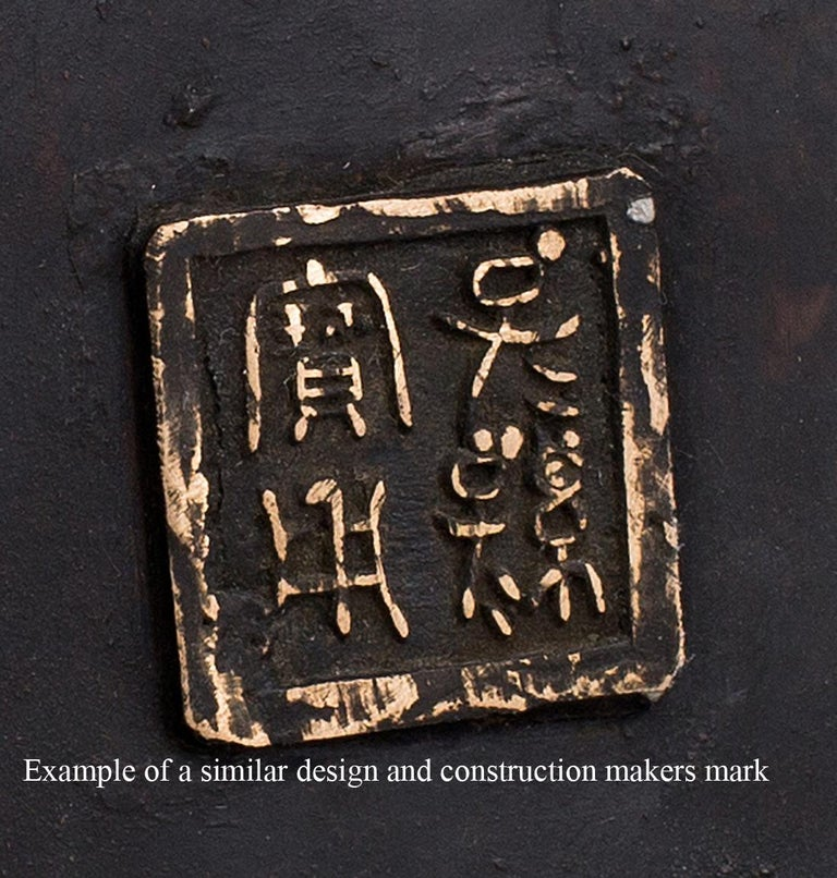 Meiji Taisho Period Japanese Bronze Grapevine Vase Table Lamp For Sale 1