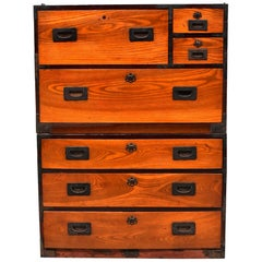 Meiji Vintage Japanese Tansu Two-Tier Chest, Orange Black Contrast
