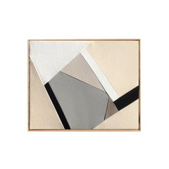 End of Season (textile taupe art black and white beige fabric abstract geometric