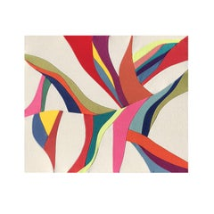 Feeling Everything (textile art colorful beige fire red shapes fabric abstract )