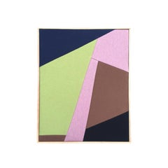 Fragments 6 (textile art pink lime green brown navy fabric abstract geometric)