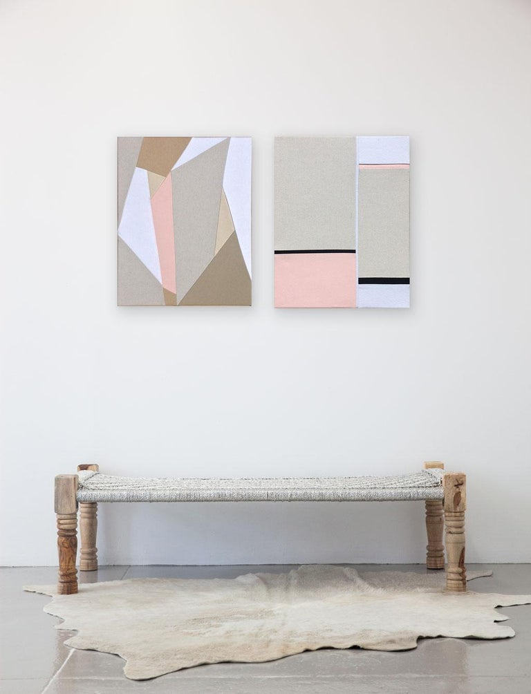 """UNFRAMED Measurements:  16"""" W  x  20"""" H Mixed fabrics over stretched canvas  ABOUT THIS PIECE:"""