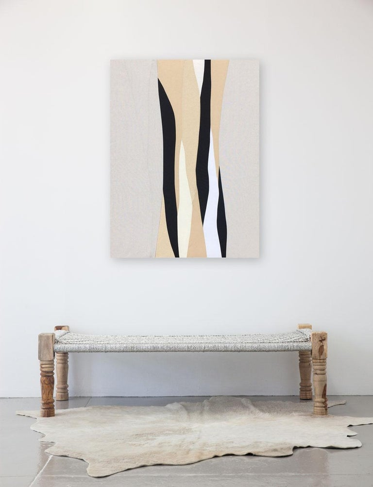 """UNFRAMED Measurements:  36"""" W  x  48"""" H Mixed fabrics over stretched canvas     ABOUT THIS PIECE:"""