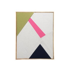 Sunray (textile art black and white pink moss green fabric abstract geometric)