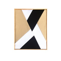 The Breakthrough (textile art black and white beige fabric abstract geometric)