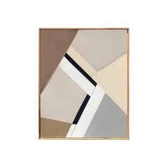 The landslide (textile taupe art black and white beige fabric abstract geometric