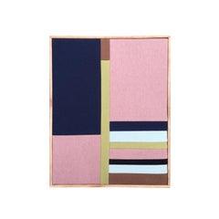 Window Pane 3 (textile art pink navy stripes fabric abstract geometric)