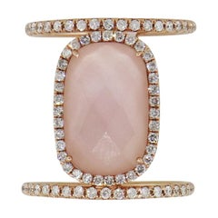Meira T Diamond and Rose Quartz Double Band Ring
