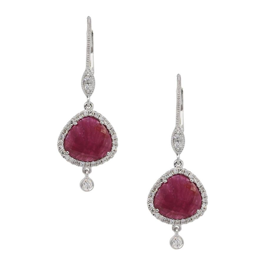 Meira T Ruby and Diamond Drop Earrings