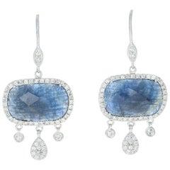 Meira T Sapphire & Diamond Halo Earrings, 14 Karat Gold Dangle Pierced 12.51ctw