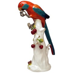 Meissen Animal Figurine Parrot with Cherries Model 20x Kaendler Made circa 1870