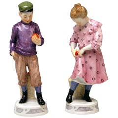 Meissen Art Nouveau Children Boy and Girl with Apples X 187 188 by Koenig