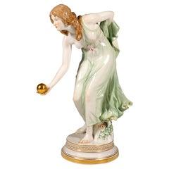Meissen Art Nouveau Figurine Young Lady Ball Player by Walter Schott, ca 1924