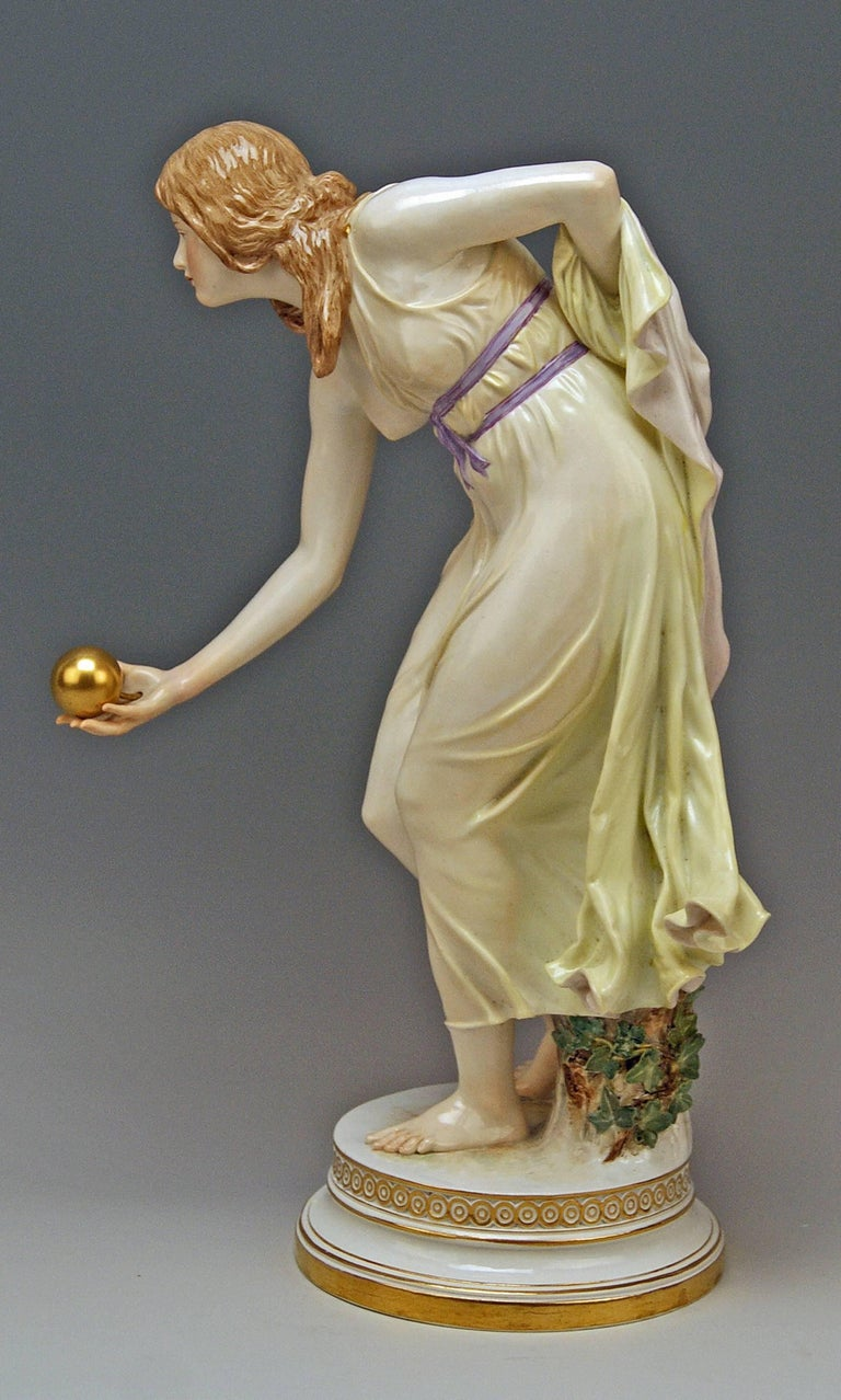 Meissen lovely girl playing bowls Gorgeous art nouveau porcelain figurine ! Quite early manufacturing (made circa 1900)  First quality  Meissen Blue Sword Mark with Pommels on Hilts (underglazed) model number Q 180  former's number 147 /