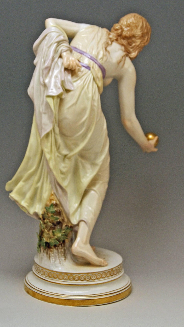Painted Meissen Art Nouveau Girl Playing Bowls by Walter Schott, circa 1900 For Sale