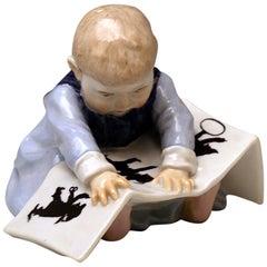 Meissen Art Nouveau Hentschel Child Looking at Picture-Book Model U 149