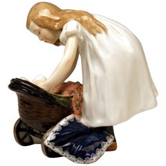 Meissen Art Nouveau Hentschel Girl with Doll Carriage Rarity Model W 124