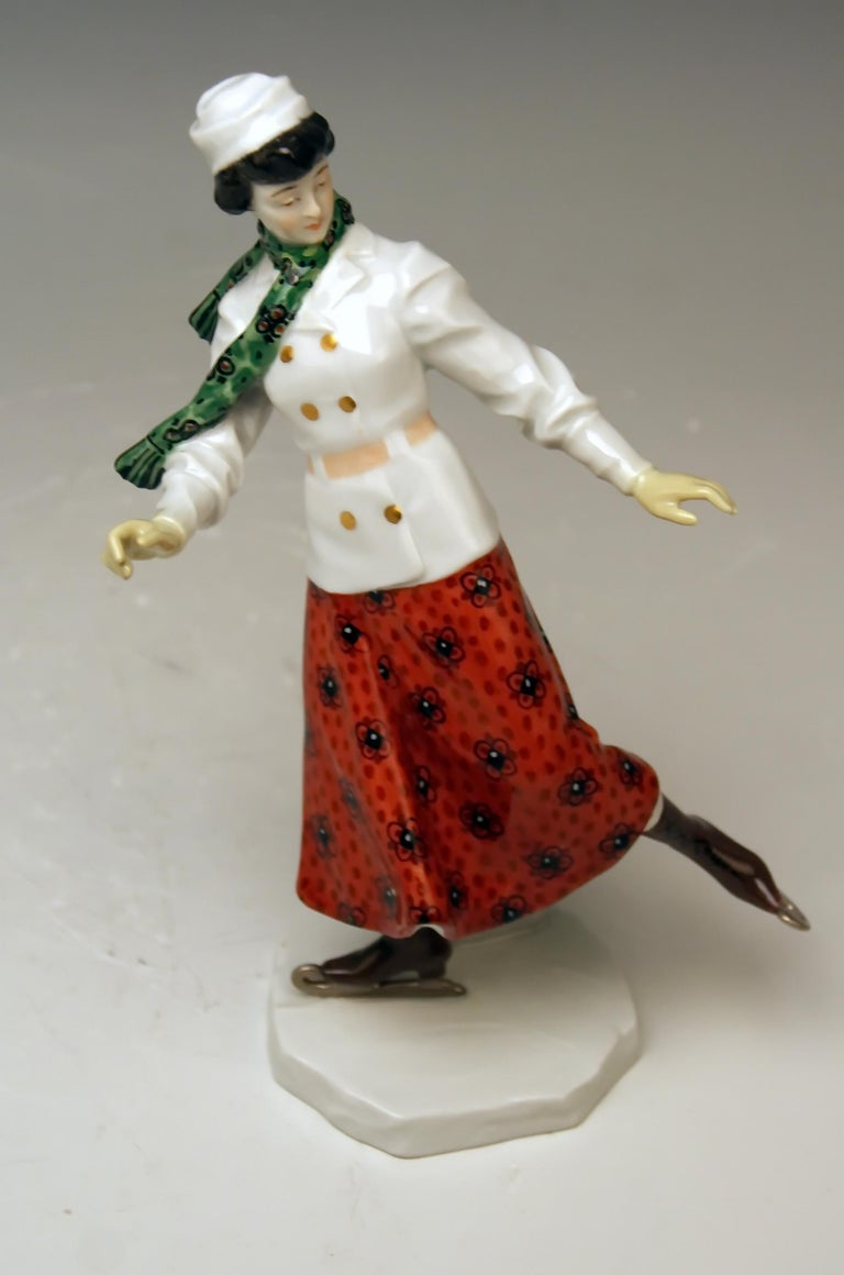 Meissen Art Nouveau Lady Ice Skating Model Z 194 by Alfred Koenig, circa 1912 For Sale 3