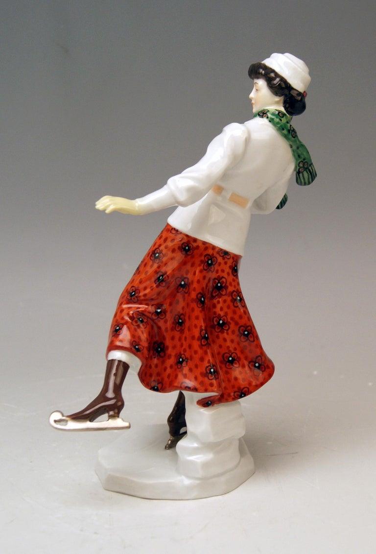 German Meissen Art Nouveau Lady Ice Skating Model Z 194 by Alfred Koenig, circa 1912 For Sale