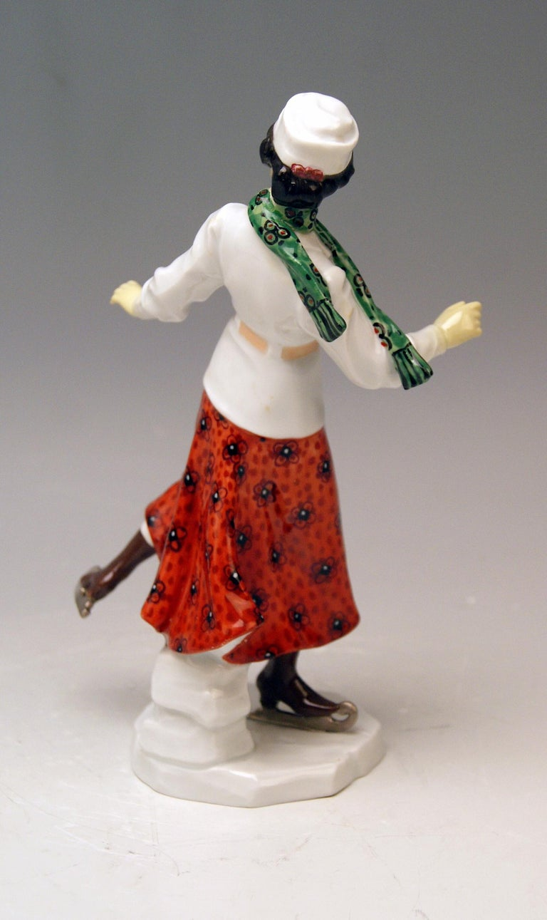 Painted Meissen Art Nouveau Lady Ice Skating Model Z 194 by Alfred Koenig, circa 1912 For Sale