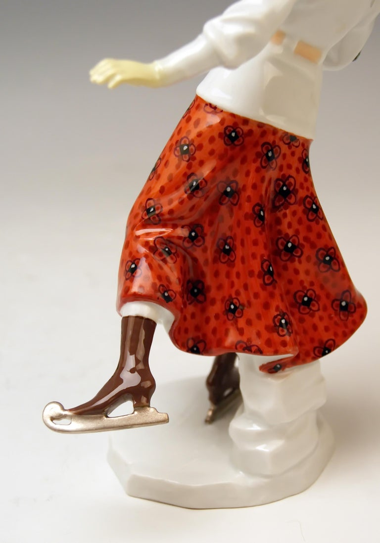Meissen Art Nouveau Lady Ice Skating Model Z 194 by Alfred Koenig, circa 1912 For Sale 1
