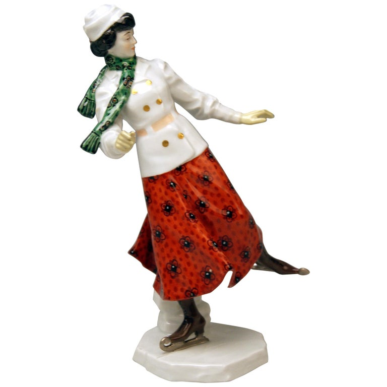 Meissen Art Nouveau Lady Ice Skating Model Z 194 by Alfred Koenig, circa 1912 For Sale