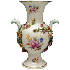 Meissen Bellied Vase Sculptured Flowers Fruits, circa 1870