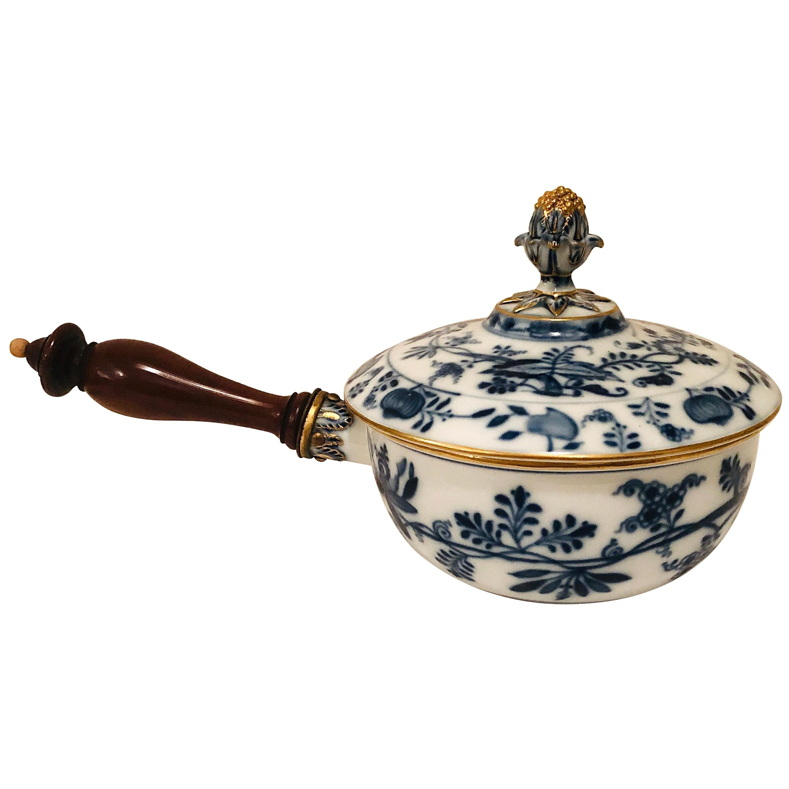 Meissen Blue Onion Covered Serving Bowl or Pot with Wooden Handle
