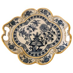 Meissen Blue Onion Fluted Serving Tray with Gold Border and Handles