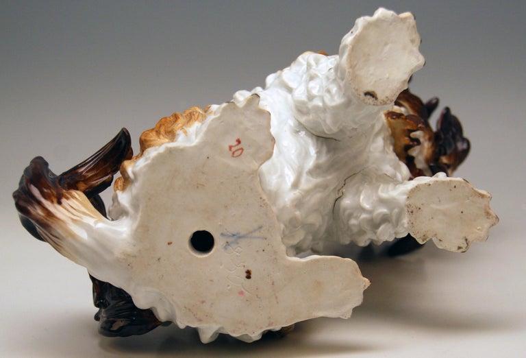 Porcelain Meissen Bolognese Dog Model 2880 by Johann Joachim Kaendler Made circa 1870 For Sale