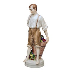Meissen Boy and Dosser with Winegrapes by Theodore Eichler Model W 129