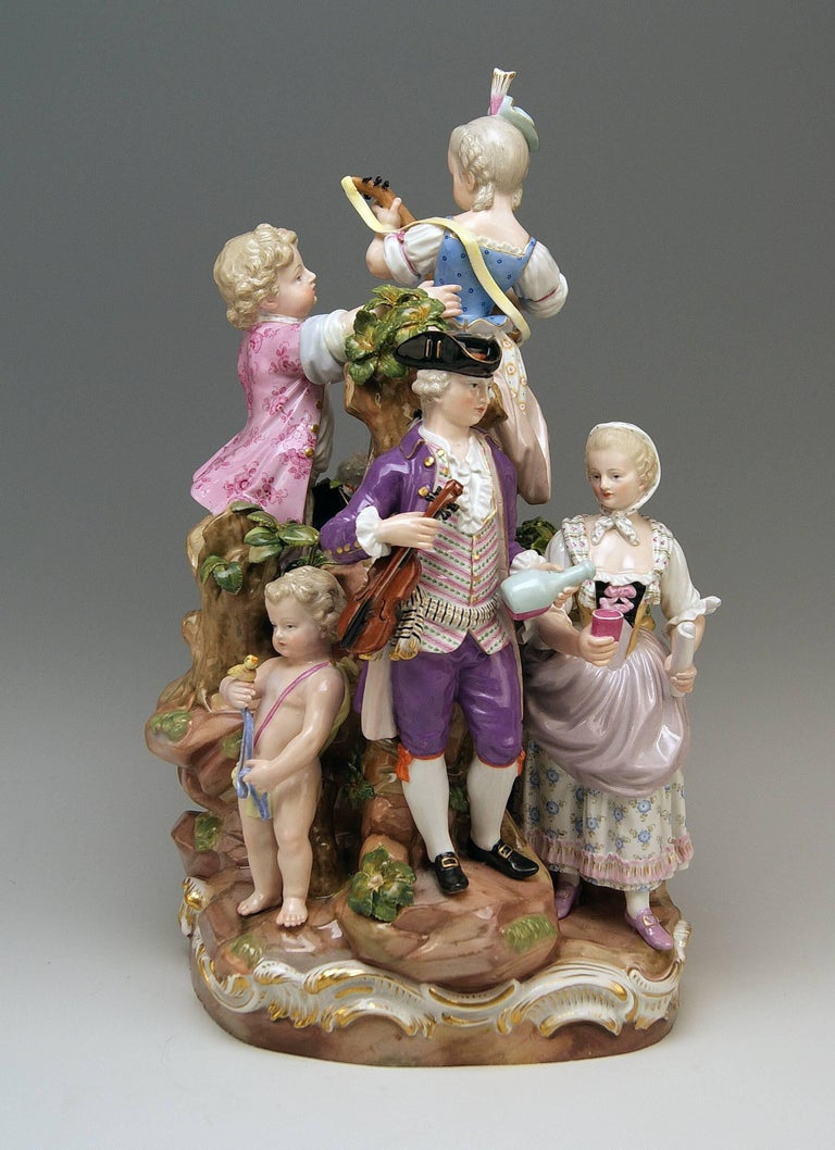 Rococo Meissen Bucolic Festival Figurines Cherubs Couple Musicians Acier, C 59, 1870 For Sale