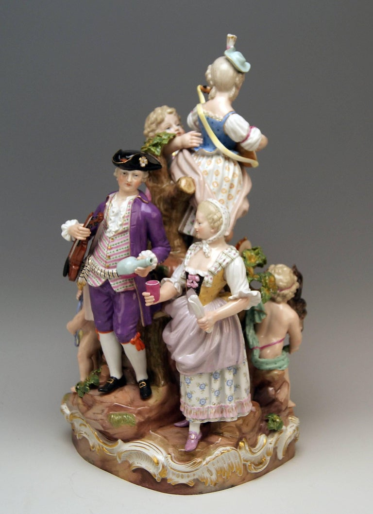 German Meissen Bucolic Festival Figurines Cherubs Couple Musicians Acier, C 59, 1870 For Sale