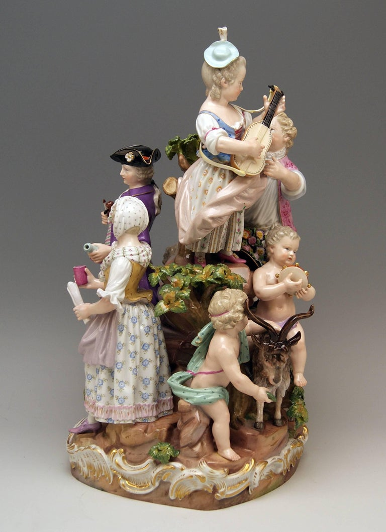 Painted Meissen Bucolic Festival Figurines Cherubs Couple Musicians Acier, C 59, 1870 For Sale