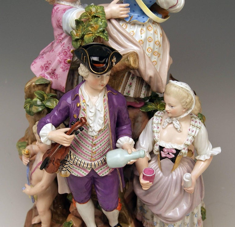Meissen Bucolic Festival Figurines Cherubs Couple Musicians Acier, C 59, 1870 For Sale 1