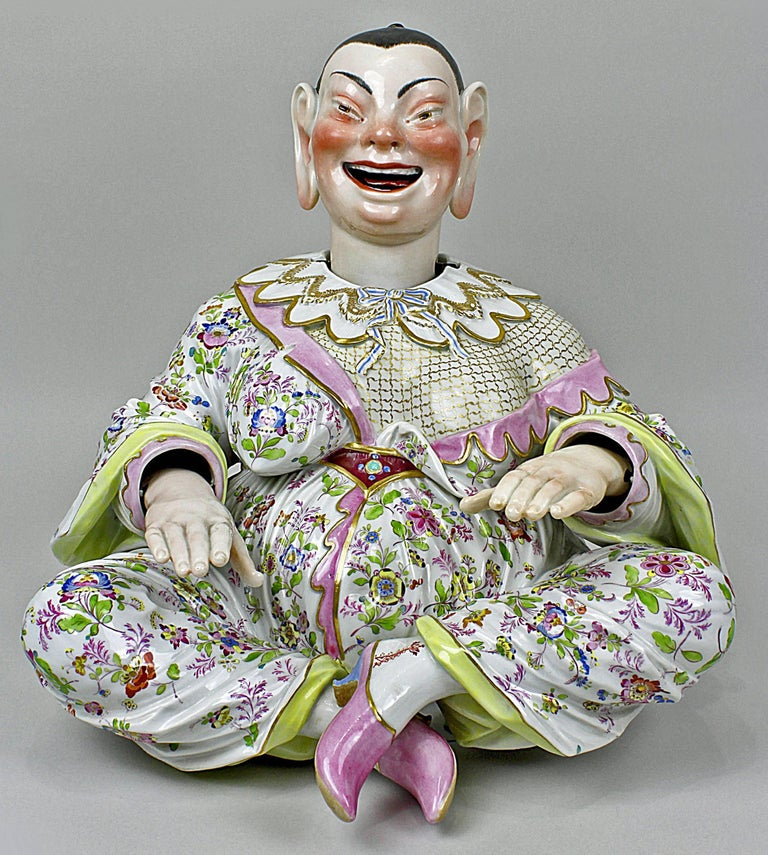 Meissen most remarkable items: Two Buddha figurines (male and female) Attention: The Buddha figurines have movable hands, head and tongue.  Measures / Dimensions: height: 12.59 inches / 32.0 cm  width: 12.79 inches / 32.5 cm  depth: 12.59